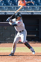 Glendale Desert Dogs third baseman Yu Chang (9), of the Cleveland Indians organization, at bat during an Arizona Fall League game against the Peoria Javelinas at Peoria Sports Complex on October 22, 2018 in Peoria, Arizona. Glendale defeated Peoria 6-2. (Zachary Lucy/Four Seam Images)