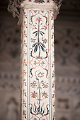 Agra, Utar Pradesh, India. Detail of pillar Baby Taj.