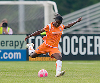 Sky Blue FC defender Anita Asante (5) kicks the ball downfield during a WPS match at Anheuser-Busch Soccer Park, in St. Louis, MO, June 7, 2009. Athletica won the match 1-0.