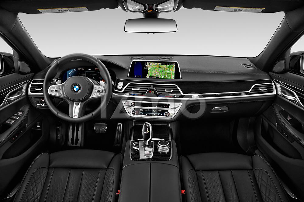 Stock photo of straight dashboard view of 2020 BMW 7-Series M-Sport 4 Door Sedan Dashboard