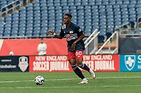 FOXBOROUGH, UNITED STATES - MAY 28: Francois Dulysse #60 of New England Revolution II looks to pass during a game between Fort Lauderdale CF and New England Revolution II at Gillette Stadium on May 28, 2021 in Foxborough, Massachusetts.