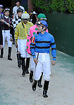 10 April 10: Jockey Terry Thompson leads the jockeys onto the track before the 8th running of the Instant Racing Stakes for three year old fillies at Oaklawn Park in Hot Springs, Arkansas.