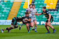13th March 2021; Franklin's Gardens, Northampton, East Midlands, England; Premiership Rugby Union, Northampton Saints versus Sale Sharks; Ross Harrison of Sale Sharks takes the ball into contact