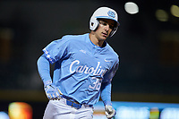 Kip Brandenburg (38) of the North Carolina Tar Heels rounds third base against the against the Charlotte 49ers at BB&T BallPark on March 27, 2018 in Charlotte, North Carolina. The Tar Heels defeated the 49ers 14-2. (Brian Westerholt/Four Seam Images)