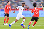 Abdel Aziz Hatim of Qatar (C) fights for the ball with Hwang Inbeom of South Korea (R) during the AFC Asian Cup UAE 2019 Quarter Finals match between Qatar (QAT) and South Korea (KOR) at Zayed Sports City Stadium  on 25 January 2019 in Abu Dhabi, United Arab Emirates. Photo by Marcio Rodrigo Machado / Power Sport Images