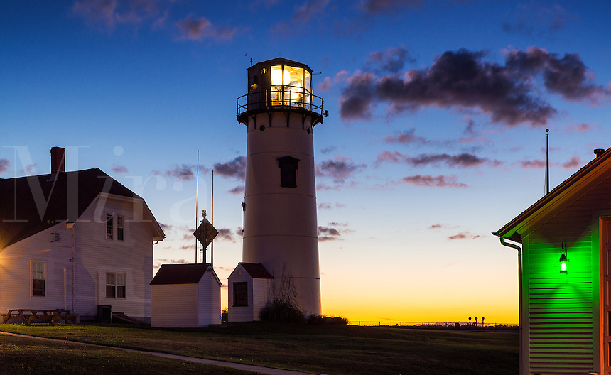 Lighthouse at dawn, Chatham Light, Chatham, Cape Cod, Massachusetts, USA