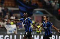 Calcio, Serie A: Inter Milano - Lecce, Giuseppe Meazza stadium, September 26 agosto 2019.<br /> Inter's Romelu Lukaku (l) and Antonio Candreva (r) celebrate after winning 4-0 the Italian Serie A football match between Inter and Lecce at Giuseppe Meazza (San Siro) stadium, September August 26,, 2019.<br /> UPDATE IMAGES PRESS/Isabella Bonotto
