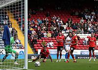 11th September 2021; Ewood Park, Blackburn, Lancashire England; EFL Championship football, Blackburn Rovers versus Luton Town; Ben Brereton of Blackburn Rovers striker the post with an angled shot