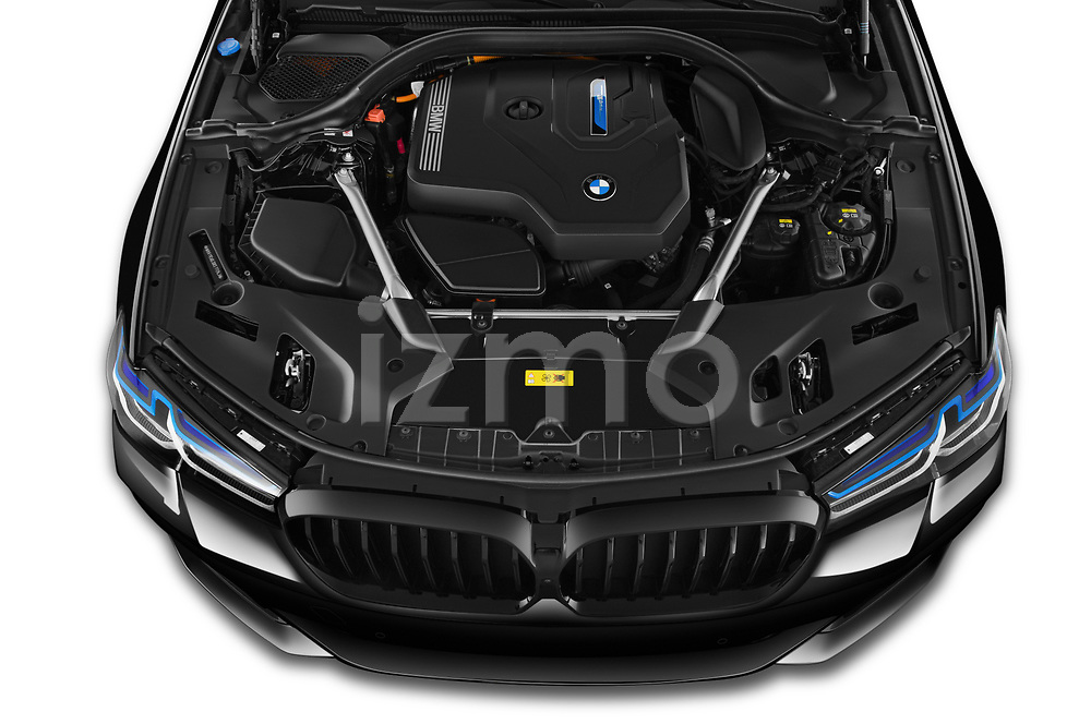 Car Stock 2021 BMW 5-Series 530e-Edition-M-Sport 4 Door Sedan Engine  high angle detail view