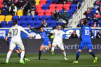 Harrison, NJ - Saturday, March 04, 2017: Sakina Karchaoui, Sara Doorsoun during a SheBelieves Cup match between the women's national teams of France (FRA) and Germany (GER) at Red Bull Arena.