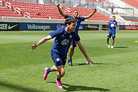 SANDY, UT - JUNE 8: Gio Reyna, Reggie Cannon of the United States during a training session at Rio Tinto Stadium on June 8, 2021 in Sandy, Utah.