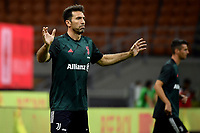 Gianluigi Buffon of Juventus warms up prior to the Serie A football match between AC Milan and Juventus FC at stadio San Siro in Milan ( Italy ), July 7th, 2020. Play resumes behind closed doors following the outbreak of the coronavirus disease. <br /> Photo Federico Tardito / Insidefoto