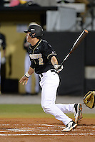 Central Florida Knights infielder Dylan Moore (2) during the season opening game against the Siena Saints at Jay Bergman Field on February 14, 2014 in Orlando, Florida.  UCF defeated Siena 8-1.  (Mike Janes/Four Seam Images)