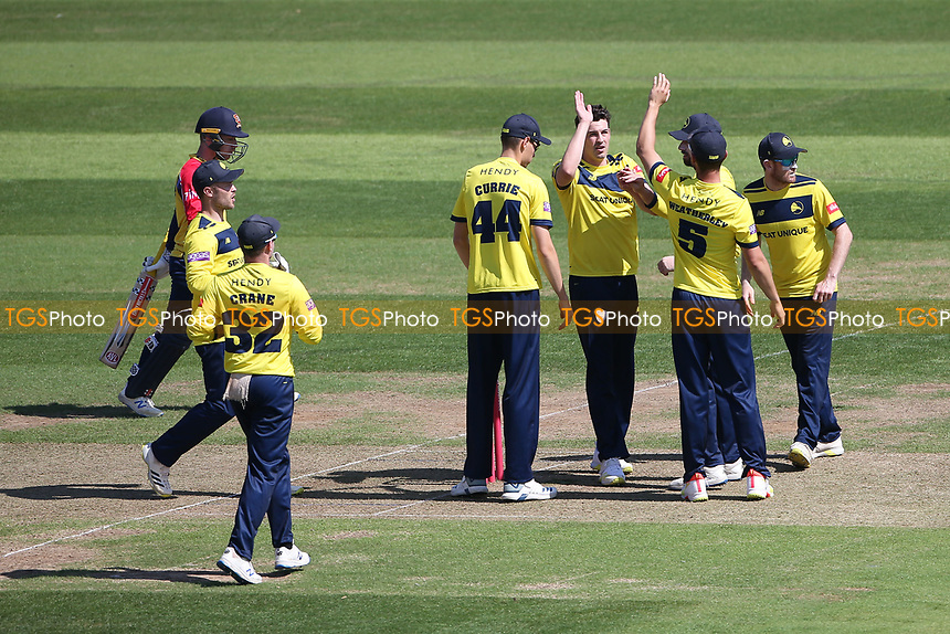 Chris Wood celebrates with his team mates after taking the wicket of Adam Wheater during Hampshire Hawks vs Essex Eagles, Vitality Blast T20 Cricket at The Ageas Bowl on 16th July 2021