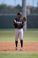 Miami Marlins third baseman Ty Washington (23) during a minor league Spring Training game against the New York Mets on March 26, 2017 at the Roger Dean Stadium Complex in Jupiter, Florida.  (Mike Janes/Four Seam Images)