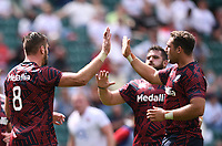 4th July 2021; Twickenham, London, England; International Rugby, Autumn Internationals, England versus United States of America; Cam Dolan of USA celebrates scoring a try with his team