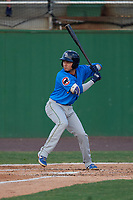Myrtle Beach Pelicans Carlos Sepulveda (7) at bat during a Carolina League game against the Potomac Nationals on August 14, 2019 at Northwest Federal Field at Pfitzner Stadium in Woodbridge, Virginia.  Potomac defeated Myrtle Beach 7-0.  (Mike Janes/Four Seam Images)