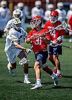 1 May 2021: Stony Brook University Seawolves Attacker Patrick Kaschalk, a Senior from Windsor, Ontario, rushes forward to score Stony Brooks' first goal of the game against the University of Vermont Catamounts at Virtue Field in Burlington, Vermont. The Cats edged out the Seawolves 14-13 with less than one second to play in their America East Men's Lacrosse matchup. Mandatory Credit: Ed Wolfstein Photo *** RAW (NEF) Image File Available ***