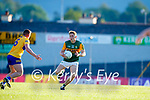 Killian Spillane, Kerry, in action against Sean Collins, Clare, during the Munster Football Championship game between Kerry and Clare at Fitzgerald Stadium, Killarney on Saturday.