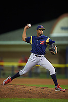 State College Spikes pitcher Pedro Echemendia (25) delivers a pitch during a game against the Batavia Muckdogs August 23, 2015 at Dwyer Stadium in Batavia, New York.  State College defeated Batavia 5-3.  (Mike Janes/Four Seam Images)