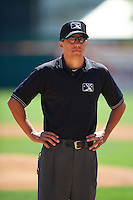 Umpire Adam Hamari before a game between the Buffalo Bisons and Empire State Yankees at Coca-Cola Field on August 21, 2012 in Buffalo, New York.  Empire State, who was the home team because of stadium renovations, defeated Buffalo 4-2.  (Mike Janes/Four Seam Images)