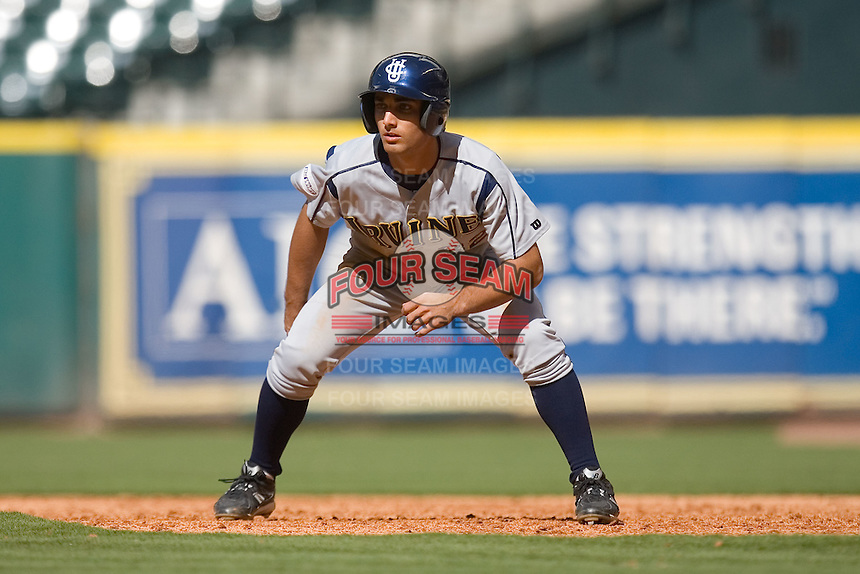DJ Crumlich #32 of the UC-Irvine Anteaters takes his lead off of first base versus the Houston Cougars in the 2009 Houston College Classic at Minute Maid Park February 28, 2009 in Houston, TX.  The Anteaters defeated the Cougars 13-7. (Photo by Brian Westerholt / Four Seam Images)