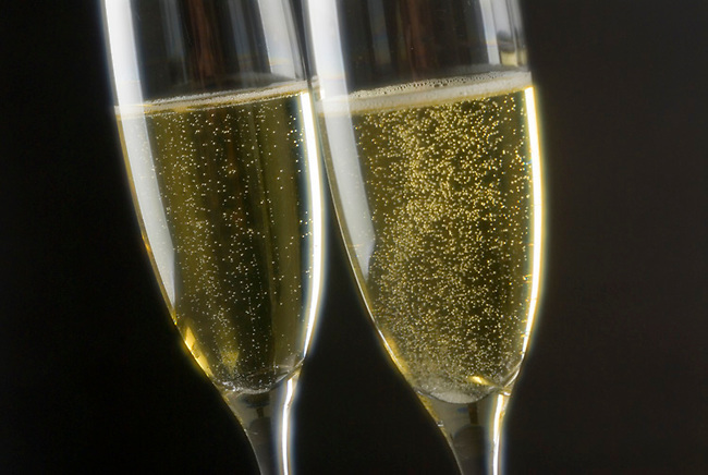 Glasses of sparkling wine, also known as champagne