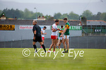Tiernan McCann, Tyrone, and Diarmuid O'Connor, Kerry, after the Allianz Football League Division 1 Semi-Final, between Tyrone and Kerry at Fitzgerald Stadium, Killarney, on Saturday.
