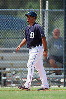 GCL Tigers East manager Luis Lopez (1) during a game against the GCL Tigers West on August 8, 2018 at Tigertown in Lakeland, Florida.  GCL Tigers East defeated GCL Tigers West 3-1.  (Mike Janes/Four Seam Images)