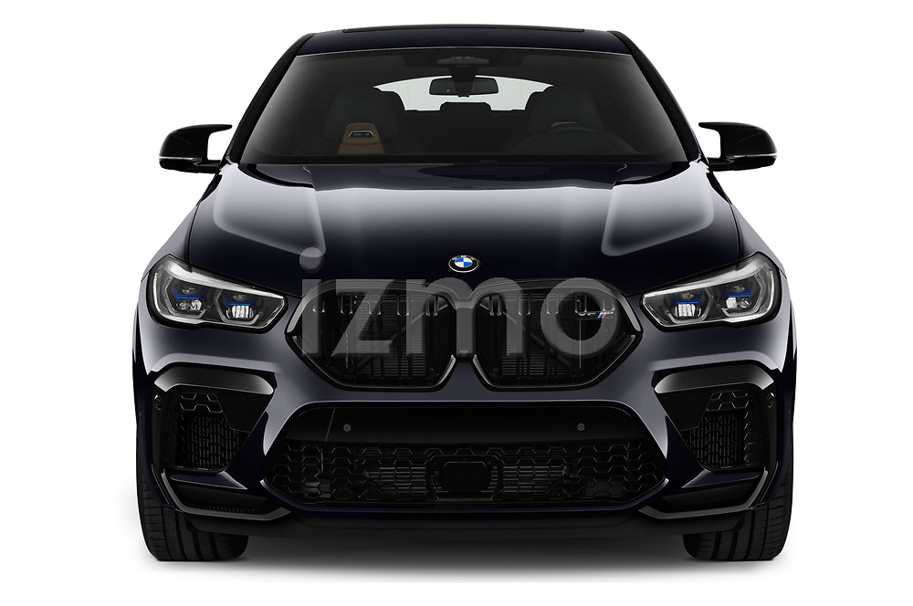 Car photography straight front view of a 2020 BMW X6-M Competition 5 Door SUV Front View