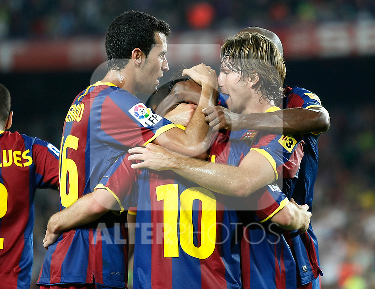 FC Barcelona's Sergio Busquets, Maxwell, Lionel Messi and Seydou Keita celebrate goal during SuperCup of Spain Final match. August 21,2010. (ALTERPHOTOS/Acero)