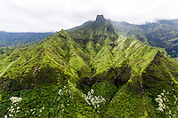 An aerial view of a green mountain range on Kaua'i