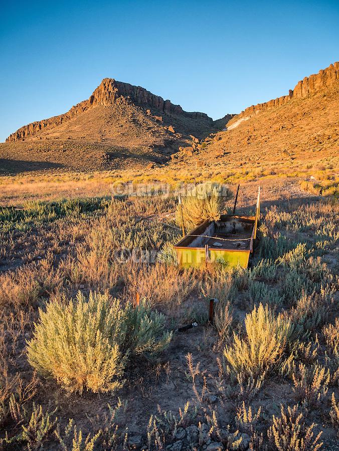 Water trough, Palisade Mesa at dawn, Big Sand Springs Valley, Nevada.