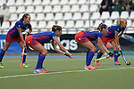GER - Mannheim, Germany, October 09: During the women hockey match between Mannheimer HC (blue) and Ruesselsheimer RK (red) on October 9, 2016 at Mannheimer HC in Mannheim, Germany. Final score 6-0 (HT 1-0). (Photo by Dirk Markgraf / www.265-images.com) *** Local caption *** (L-R) Nikki Kidd #26 of Mannheimer HC, Cecile Pieper #3 of Mannheimer HC, Flor Habif #18 of Mannheimer HC, Lydia Haase #12 of Mannheimer HC