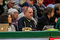 8 December 2018: University of Vermont statistician Paul Stanfield works at his laptop during a game against the Harvard University Crimson at Patrick Gymnasium in Burlington, Vermont. The America East Catamounts overcame a 10-point 2nd half deficit, to defeat the Ivy League Crimson 71-65 in NCAA Division I inter-league play. Mandatory Credit: Ed Wolfstein Photo *** RAW (NEF) Image File Available ***