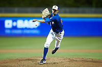 Durham Bulls relief pitcher Hoby Milner (50) in action against the Gwinnett Braves at Durham Bulls Athletic Park on April 20, 2019 in Durham, North Carolina. The Bulls defeated the Braves 3-2 in game two of a double-header. (Brian Westerholt/Four Seam Images)