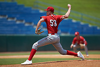 Travis Smith (53) of Walton Verona HS in Walton, KY playing for the Cincinnati Reds scout team during the East Coast Pro Showcase at the Hoover Met Complex on August 5, 2020 in Hoover, AL. (Brian Westerholt/Four Seam Images)