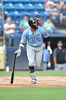 Hickory Crawdads Jared Walker (16) runs to first base during a game against the Asheville Tourists on July 21, 2021 at McCormick Field in Asheville, NC. (Tony Farlow/Four Seam Images)
