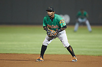 Down East Wood Ducks second baseman Yonny Hernandez (4) on defense against the Winston-Salem Dash at BB&T Ballpark on May 10, 2019 in Winston-Salem, North Carolina. The Wood Ducks defeated the Dash 9-2. (Brian Westerholt/Four Seam Images)