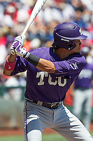 TCU Horned Frogs third baseman Elliott Barzilli (3) at bat against the Texas Tech Red Raiders in Game 3 of the NCAA College World Series on June 19, 2016 at TD Ameritrade Park in Omaha, Nebraska. TCU defeated Texas Tech 5-3. (Andrew Woolley/Four Seam Images)