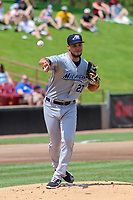 West Michigan Whitecaps starting pitcher Jesus Rodriguez (27) makes a throw to first base during a game against the Wisconsin Timber Rattlers on May 22, 2021 at Neuroscience Group Field at Fox Cities Stadium in Grand Chute, Wisconsin.  (Brad Krause/Four Seam Images)