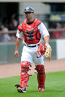 Pawtucket Red Sox catcher Dan Butler #12 prior to a game versus the Buffalo Bisons at McCoy Stadium in Pawtucket, Rhode Island on June 16, 2013.  (Ken Babbitt/Four Seam Images)