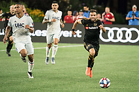 FOXBOROUGH, MA - AUGUST 4: Diego Rossi #9 of Los Angeles FC advancing down the field during a game between Los Angeles FC and New England Revolution at Gillette Stadium on August 3, 2019 in Foxborough, Massachusetts.
