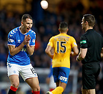26.12.2019 Rangers v Kilmarnock: Nikola Katic and ref Steven MacLean