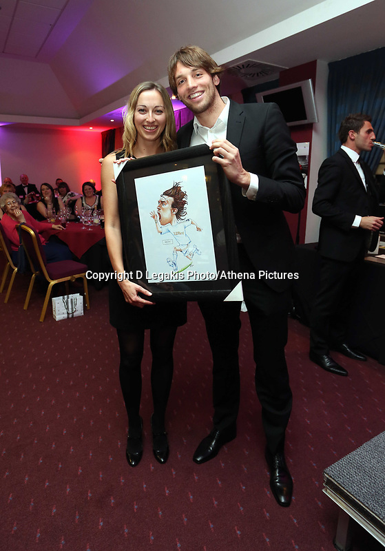 Pictured: Michu (R). Wednesday 10 April 2013<br /> Re: Swansea footballer Angel Rangel and wife Nicky's cancer charity fundraising dinner at the Liberty Stadium.
