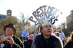 MANHATTAN, NY - APRIL 13: Michelle Palmer, 36, U.S. Presidential candidate Bernie Sanders (I-VT) to speak at Washington Square Park in Manhattan, NY, on April 13, 2016. (Photo by Yana Paskova/For The Washington Post)