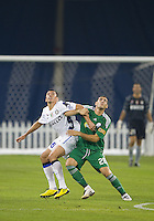 August 03 2010 Inter Milan FC defender Lucio No.6 and Panathinaikos FC forward Antonios Petropoulos No. 28 in action during an international friendly between Inter Milan FC and Panathinaikos FC at the Rogers Centre in Toronto..Final score was 3-2 for Panathinaikos FC.