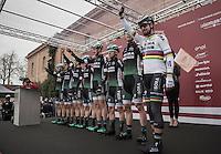 Team Bora-Hansgrohe pre-race team presentation with world champion Peter Sagan (SVK/Bora-Hansgrohe)<br /> <br /> 11th Strade Bianche 2017