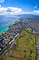 Aerial of Waikiki Beach, Ala Wai canal and harbor, Waikiki, Oahu