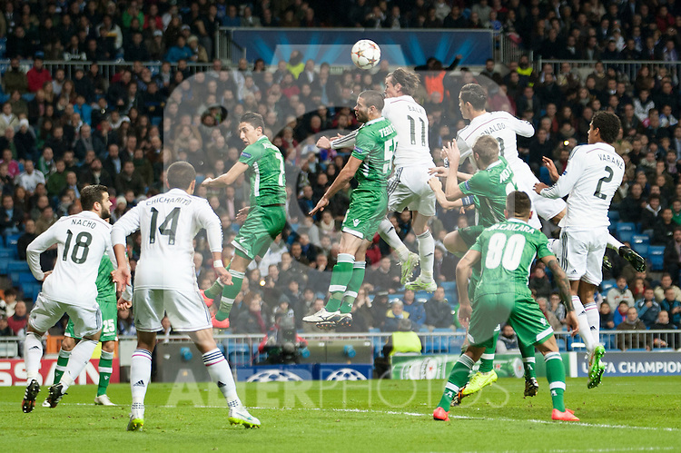 Cristiano Ronaldo, Gareth Bale and Chicharito of Real Madrid during Champions League match between Real Madrid and Ludogorets at Santiago Bernabeu Stadium in Madrid, Spain. December 09, 2014. (ALTERPHOTOS/Luis Fernandez)